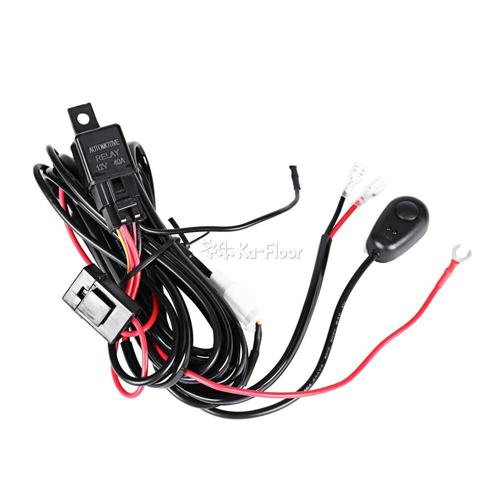 2pcs led work hid driving light bar wiring loom harness
