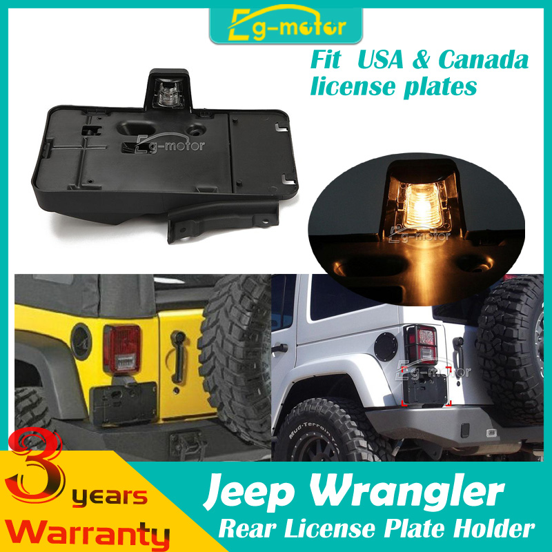 Rear License Plate Bracket Holder With Light Fit For Jeep