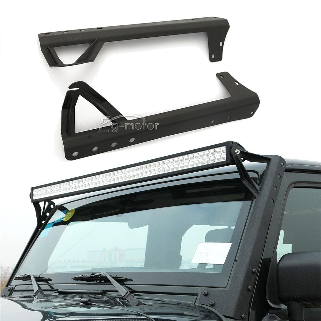 for jeep wrangler jk rubicon windshield 52 led work light bar ebay. Black Bedroom Furniture Sets. Home Design Ideas