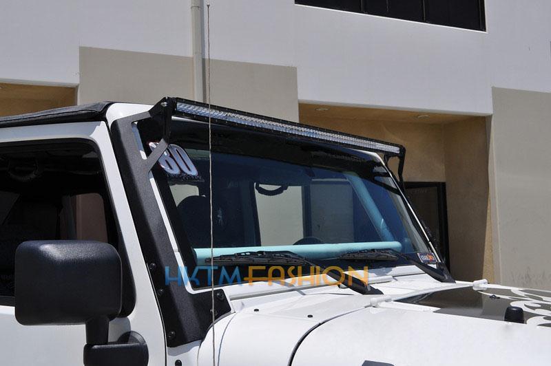 windshield mount brackets fit 50 39 39 led light bar for jeep wrangler jk. Black Bedroom Furniture Sets. Home Design Ideas
