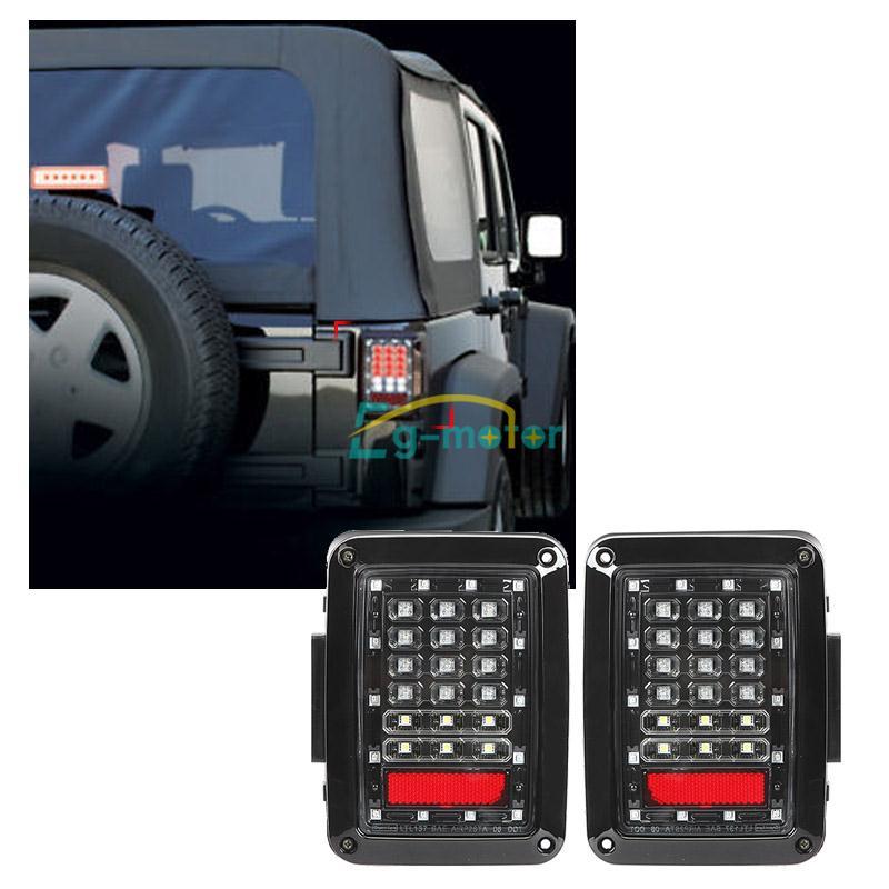 For 07 15 Jk Jeep Wrangler Black Led Rear Signal Reverse