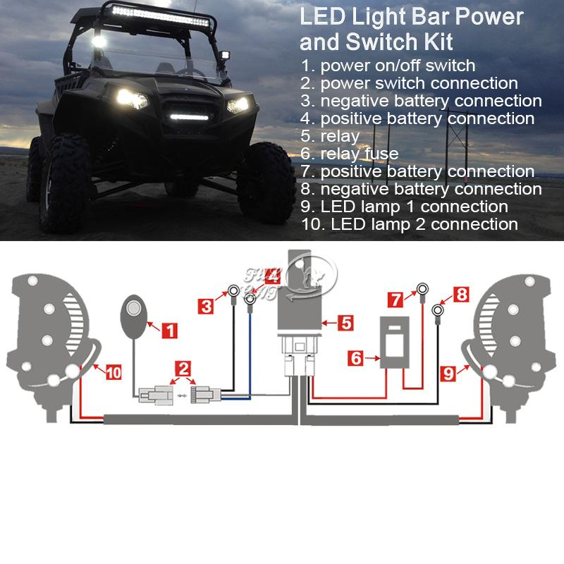Universal led driving light bar harness kit with mouse style switch httpsteammadetradeebayfulcat77707707 aloadofball Choice Image