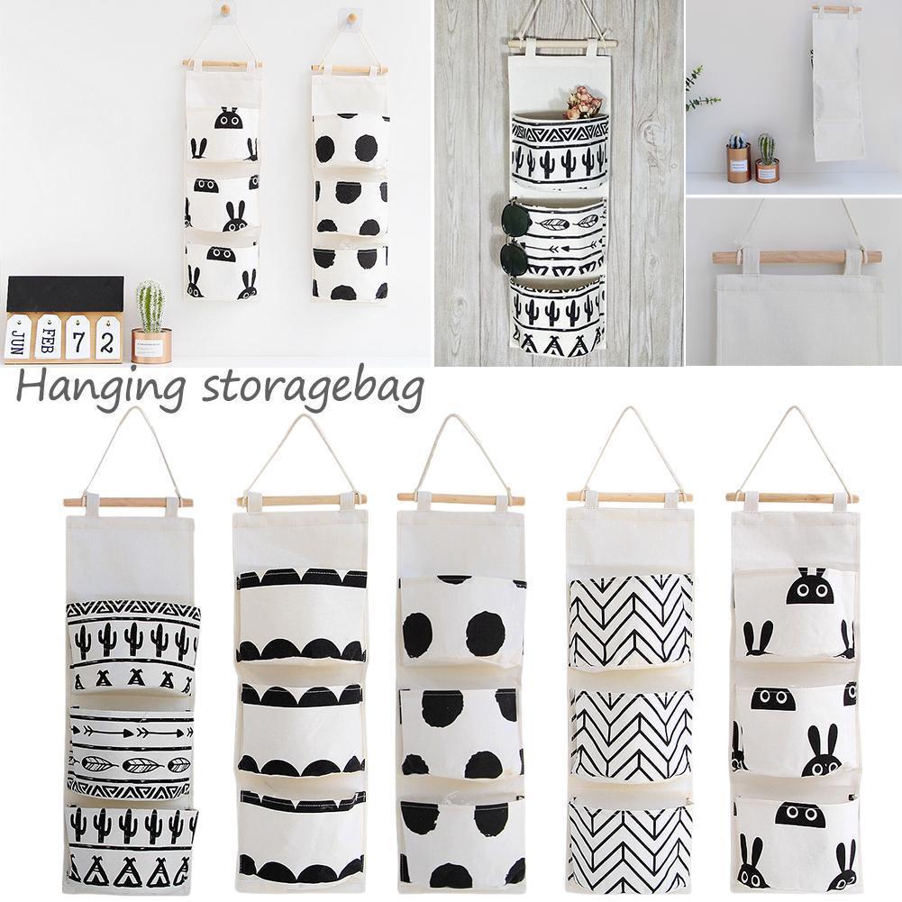 3 Pocket Nordic Style Wall Hanging Storage Bag Finishing Debris Bedroom Bathroom