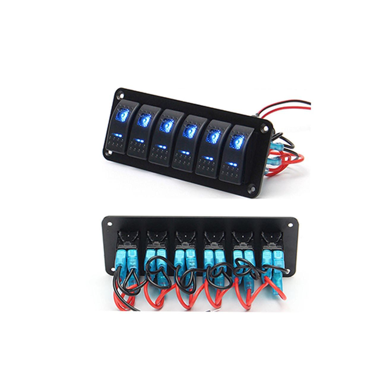 6 Gang Rocker Switch Panel Circuit Breaker Led Voltmeter Rv Car More Circuits Driver Hobby Category List Email Product Display