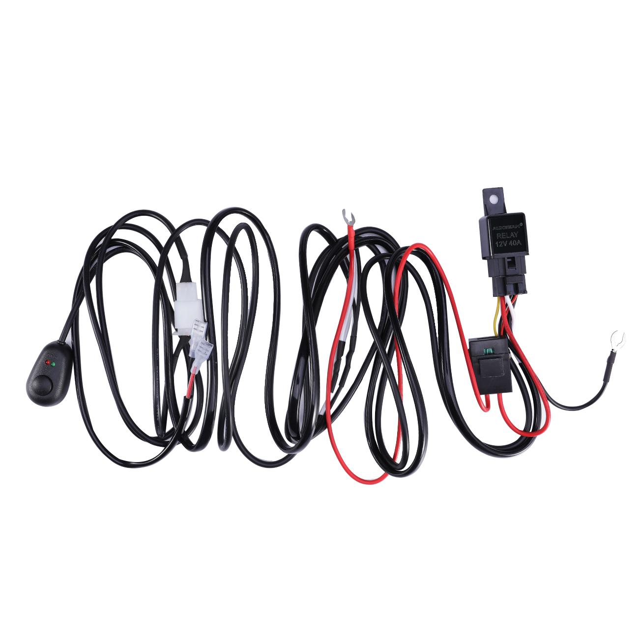 led hid work driving light bar wiring kit harness loom