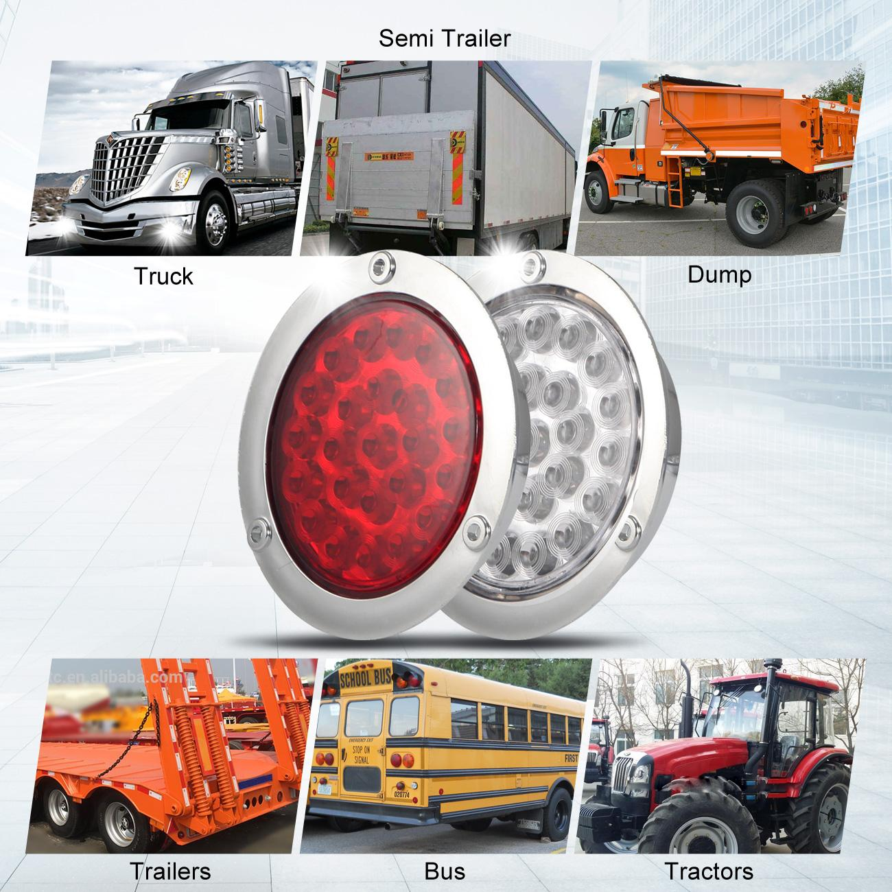 4 U0026quot  Inch 24 Led Round Stop Turn Tail Backup Truck Light Kit