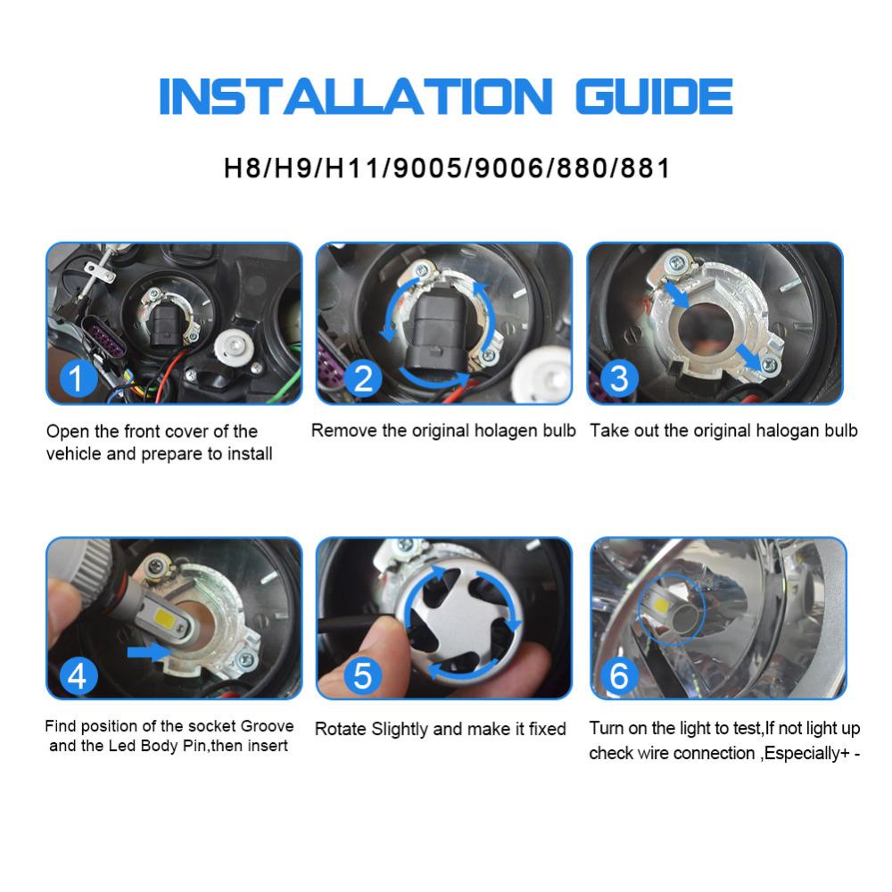 4x H11 9005 Led Headlights Hi Low Beam For Chevy Silverado 1500 2007 Anzo Hid Wiring Diagram 1x English Installation Manual Product Display