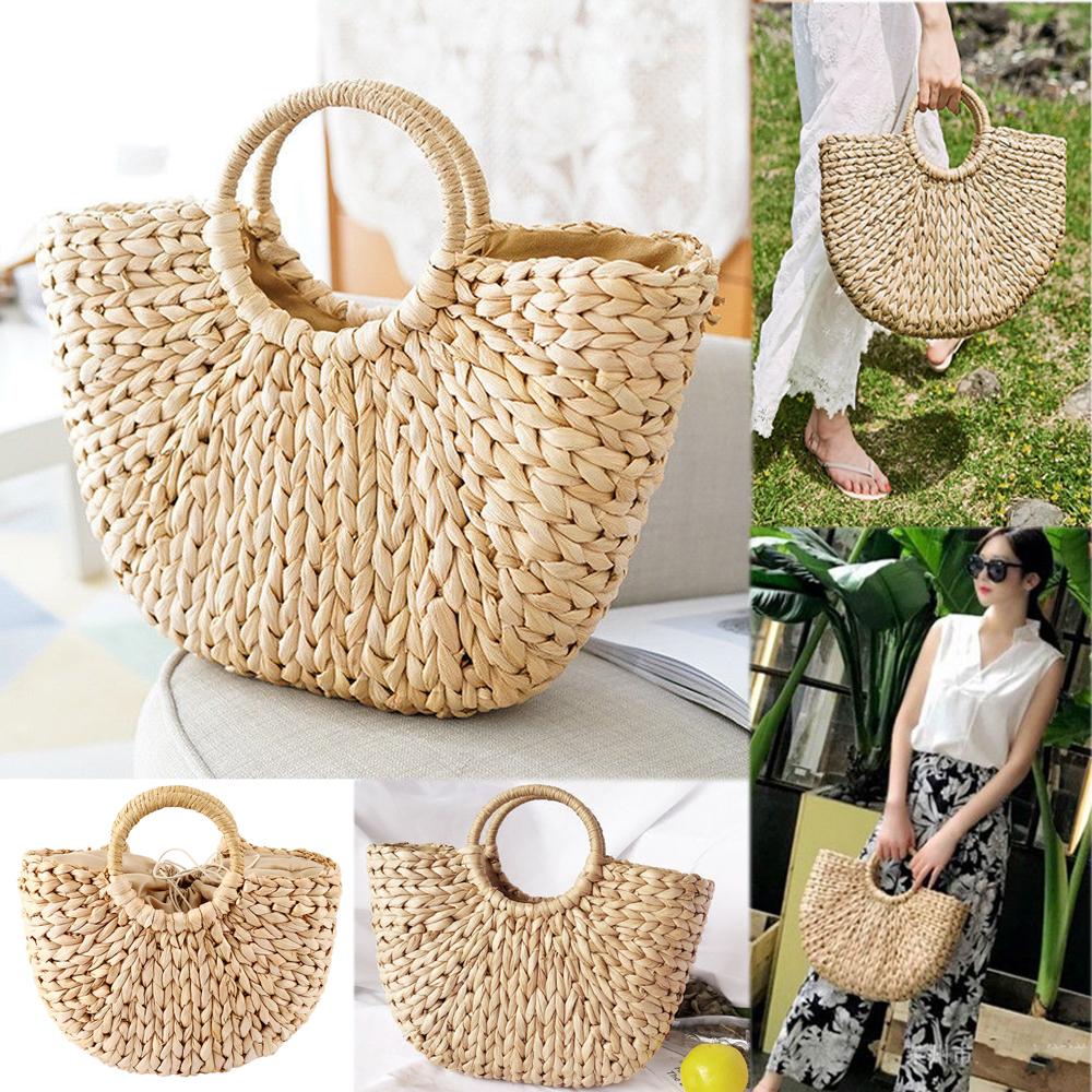 Fashion Bucket Beach Straw Woven Bags Summer Round Rattan Wicker Basket Handbag