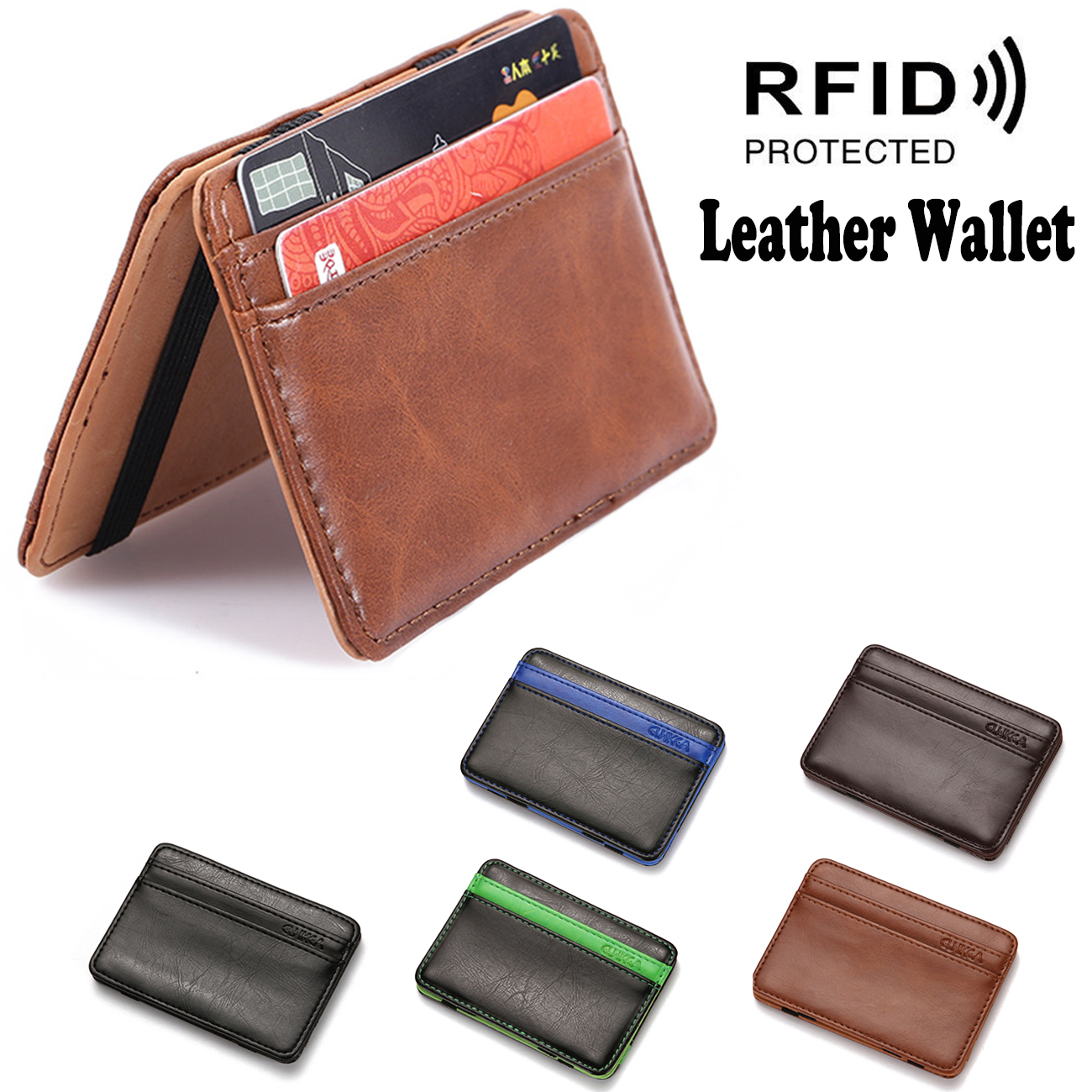 Men/'s Leather Magic Money Slim Wallet ID Credit Card Holder Case Purse Brown