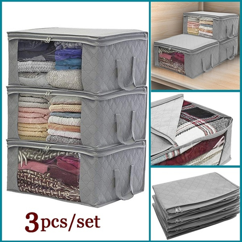 3 Cell Fabric Foldable Storage Bags Clothing Organizers Wardrobe Closet Boxes L