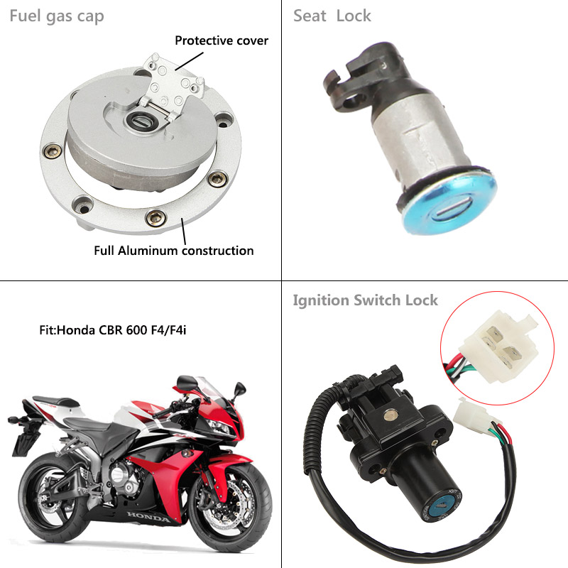 Fuel Gas Tank Cap Cover Keys For Honda CBR600 F4 1999 2000 99 00 CBR600 F4I 2001