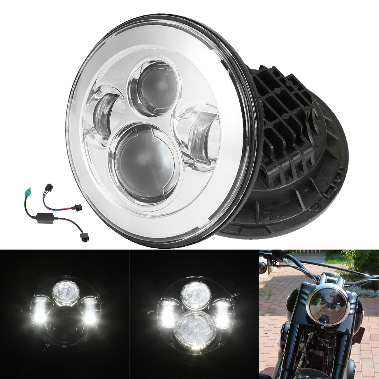 "7/"" LED Headlight Bulb For Yamaha V-Star XVS 650 1100 Classic Silverado"