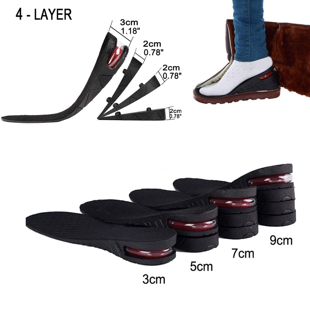 Unisex Increase Insole 1-4 Layer Shoe Height Heel Lift Air Cushion Pad Taller