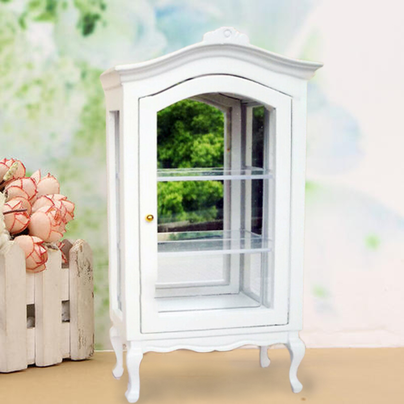 Details About 1 12 Dollhouse Miniature Furniture Wooden Display Cabinet Cupboard Showcase Toy