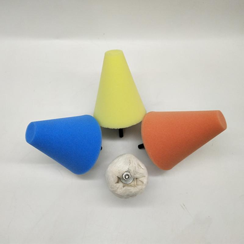 1x Sponge Cone Metal Polishing Foam Pad Wool Buffing: Burnishing Foam Sponge Polishing Cone Pads + Wool Buffing