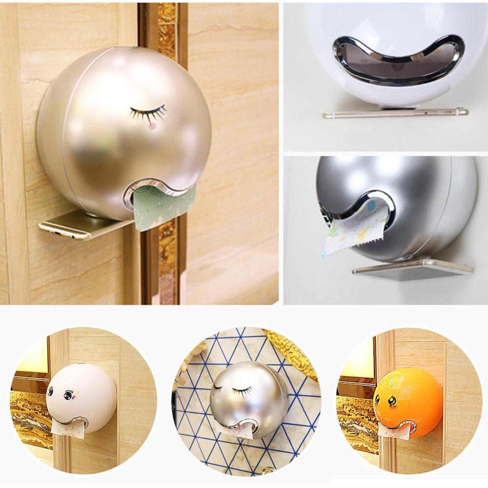Cute Ball Shape Face Emoji Wall Mounted Tissue Holder