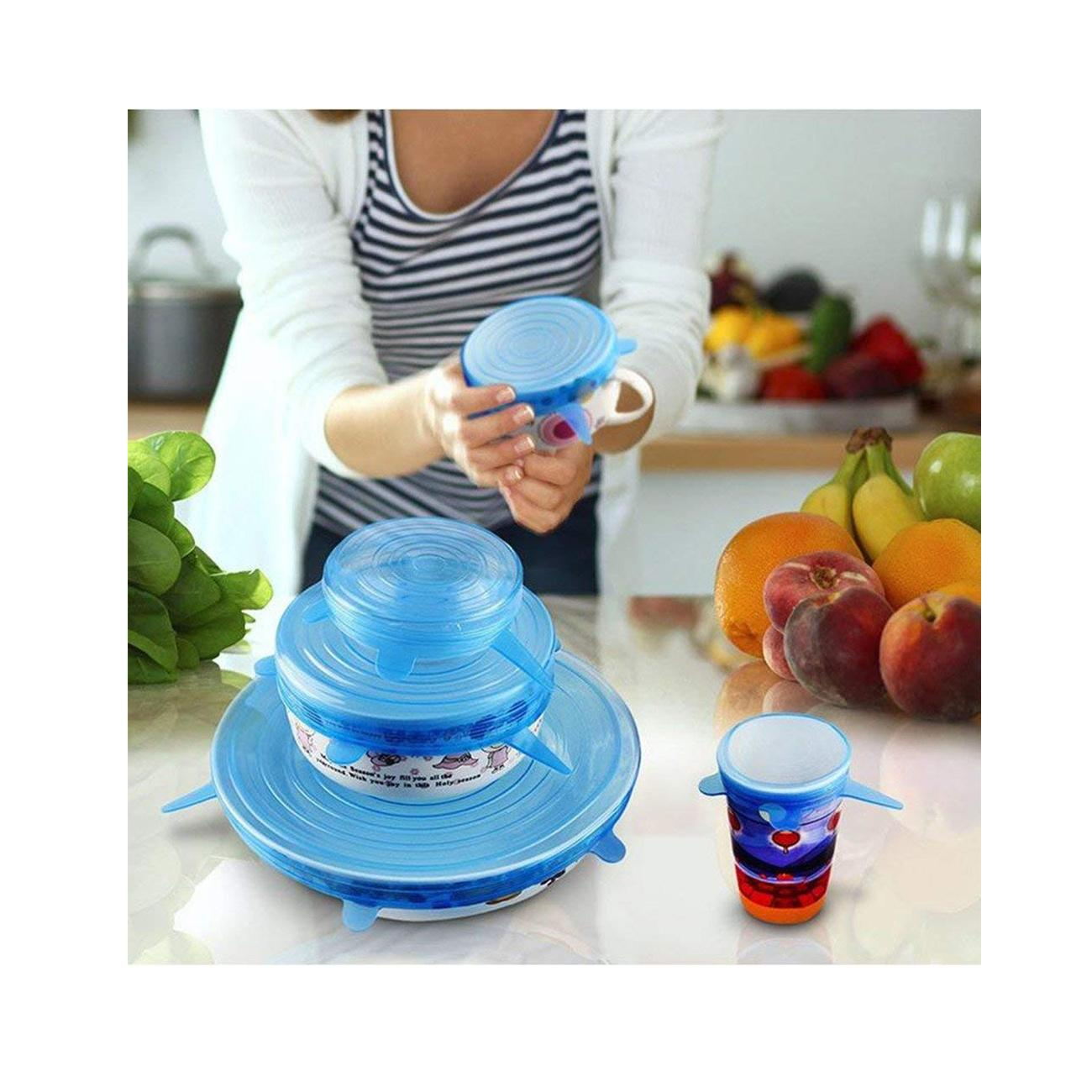6pcs Reusable Silicone Stretch Lids Keep Fresh Food