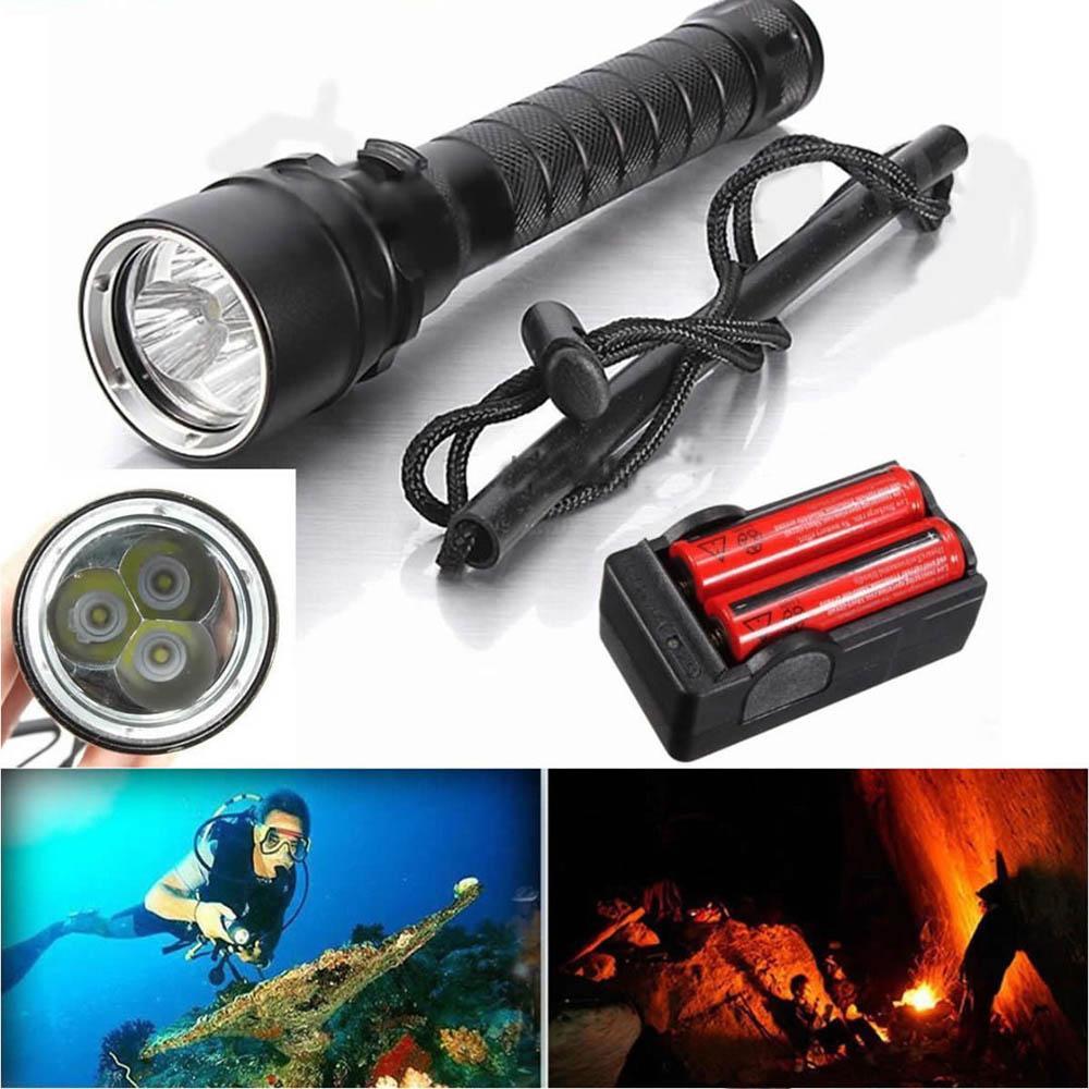 Waterproof 100m 20000LM 3x XM-L2 LED Scuba Diving Flashlight Fishing Torch Lamp