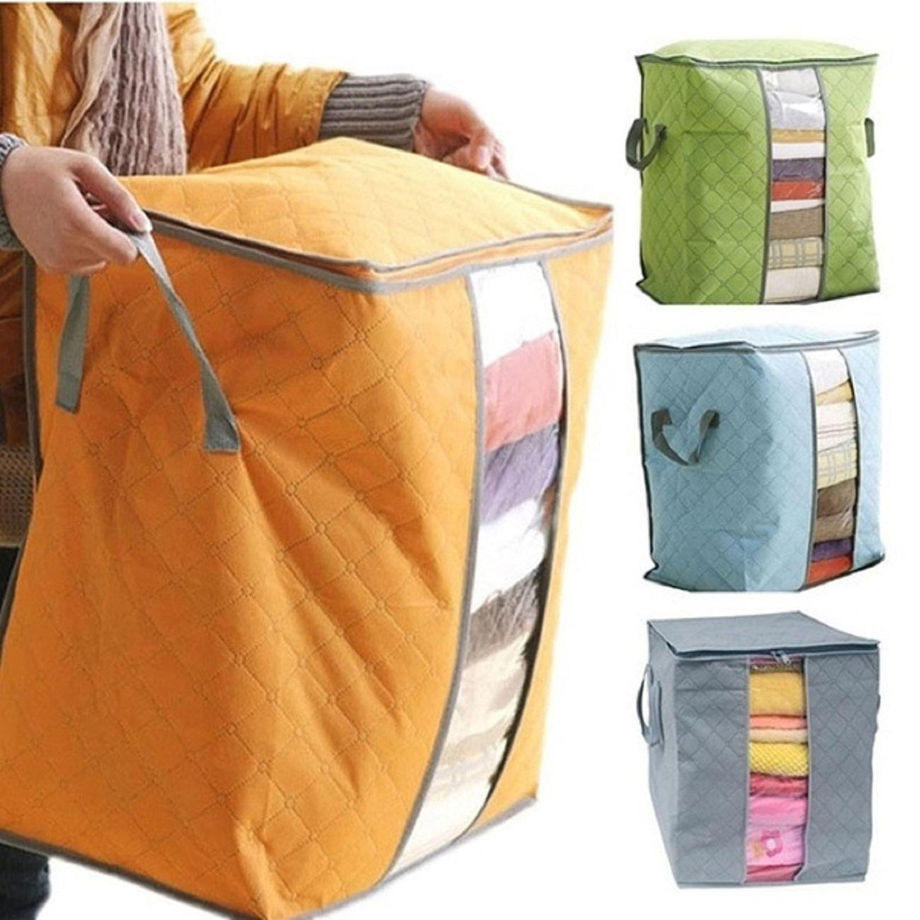 Details about Folding Bamboo Charcoal Clothes Storage Bag Zipper Blanket Closet Organizer