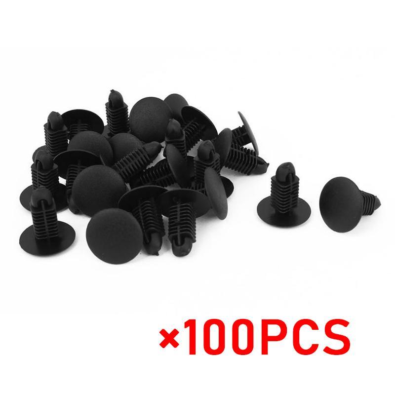 Auto 6mm Hole Dia Plastic Rivets Fastener Bumper Push Pin Clips Gray 100pcs