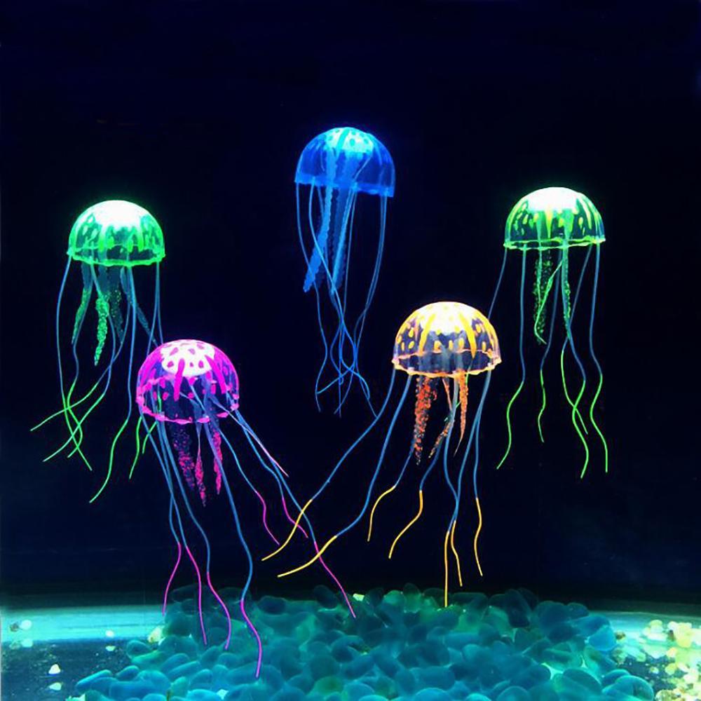 6pcs Aquarium Jellyfish Decoration Glowing Effect Fish Tank Artificial Ornament Ebay
