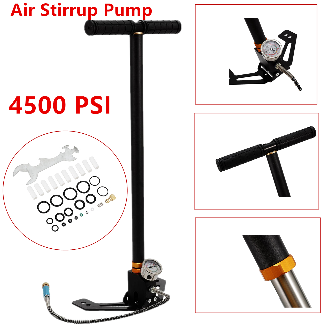3 Stage PCP 4500PSI Air Gun Rifle Filling Stirrup Pump Hand Pump Pressure Gauge